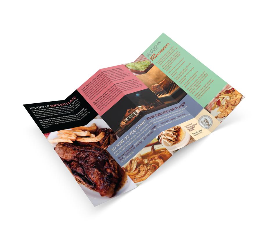 That Creative Guy. Doe's Eat Place Brochure Design. brand expert. graphic design. web design in mississippi.