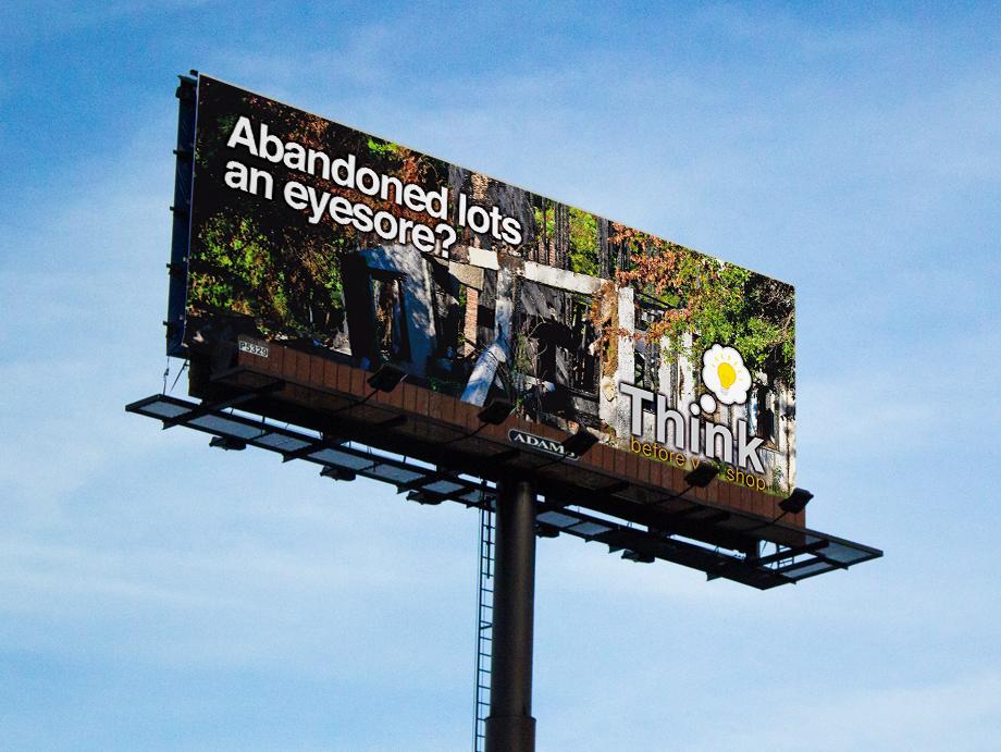 That Creative Guy. Think Before You Shop Billboard Design. brand expert. graphic design. web design in mississippi.