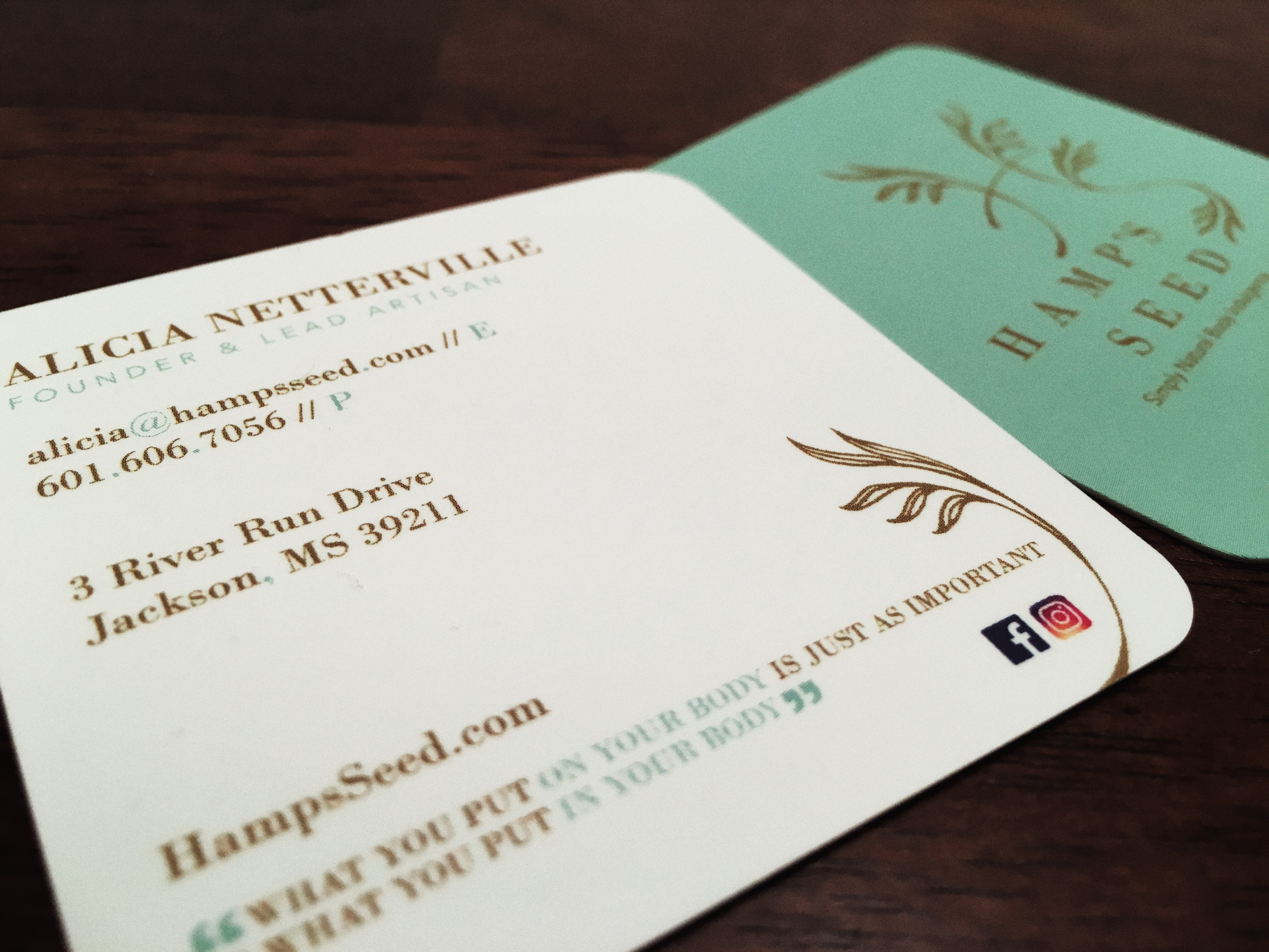 That Creative Guy. Hamp's Seed Business Card Design. brand expert. graphic design. web design in mississippi.