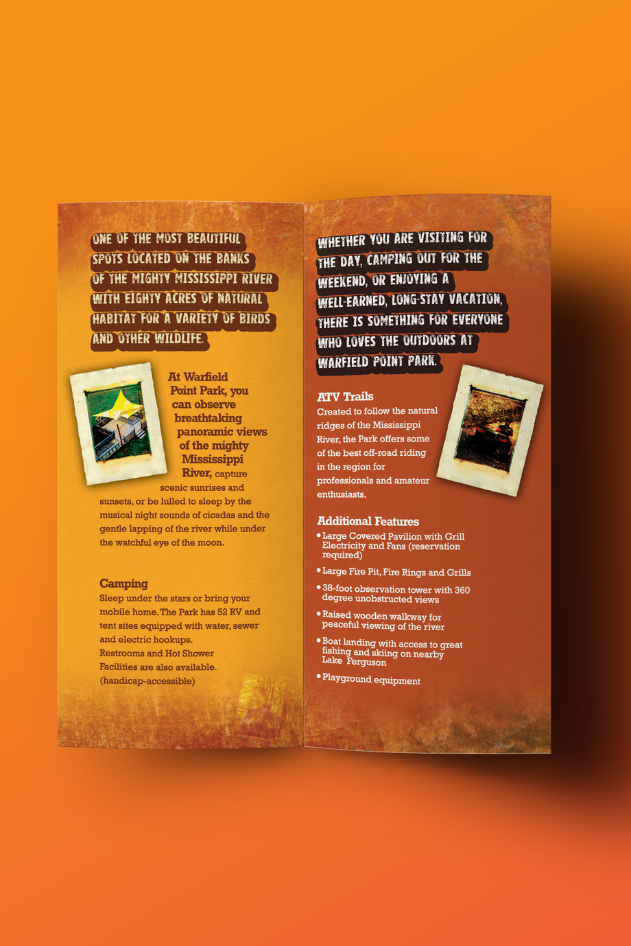 That Creative Guy. Warfield Point Park Brochure Design. brand expert. graphic design. web design in mississippi.