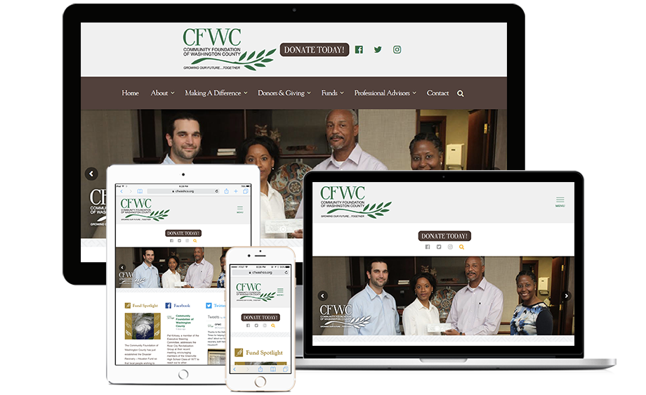 That Creative Guy. Community Foundation of Washington County Website Design. brand expert. graphic design. web design in mississippi.