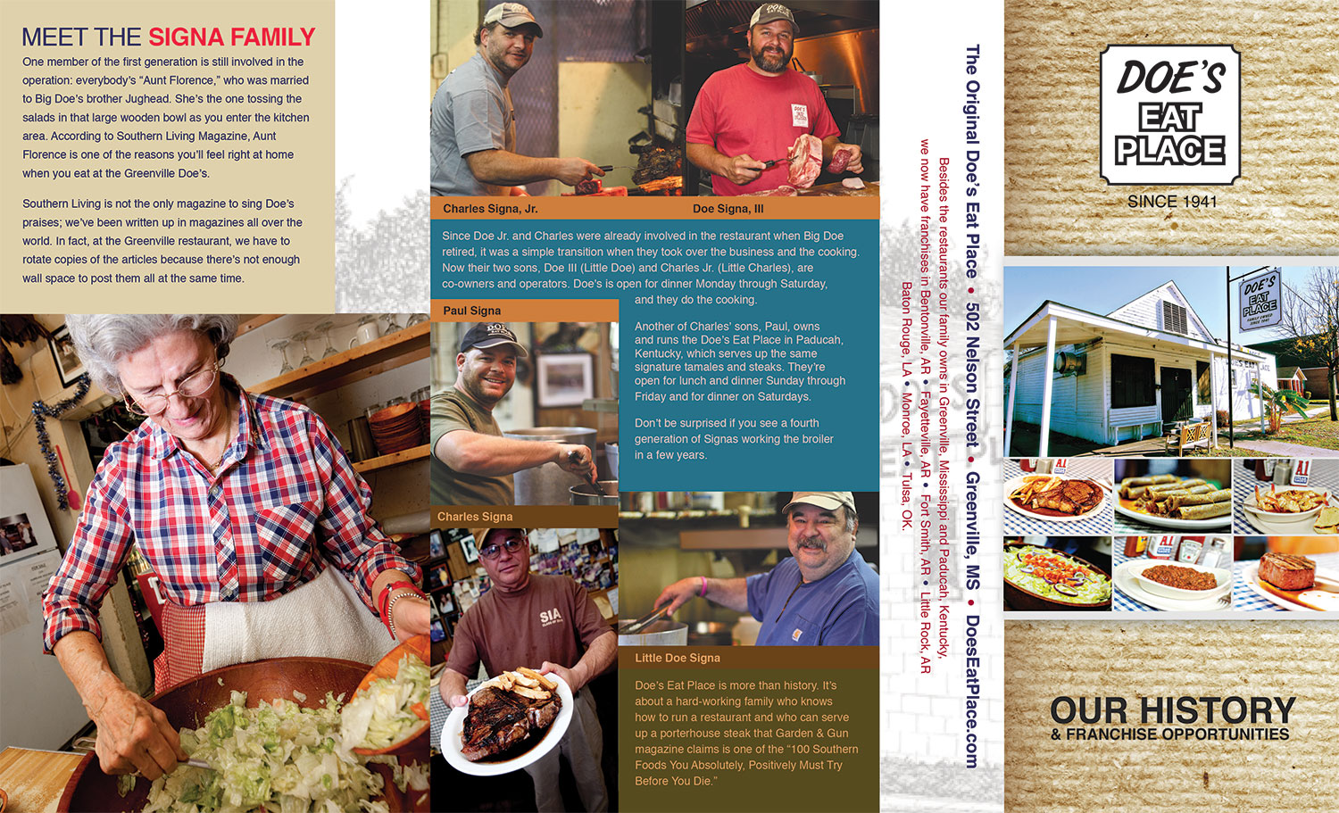 That Creative Guy. Doe's Eat Place Brochure Design. brand expert. graphic design. web design in mississippi.