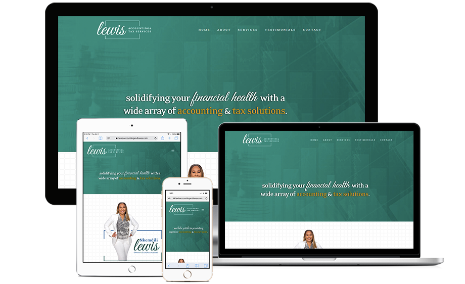 That Creative Guy. Lewis Accounting and Taxes Website Design. brand expert. graphic design. web design in mississippi.